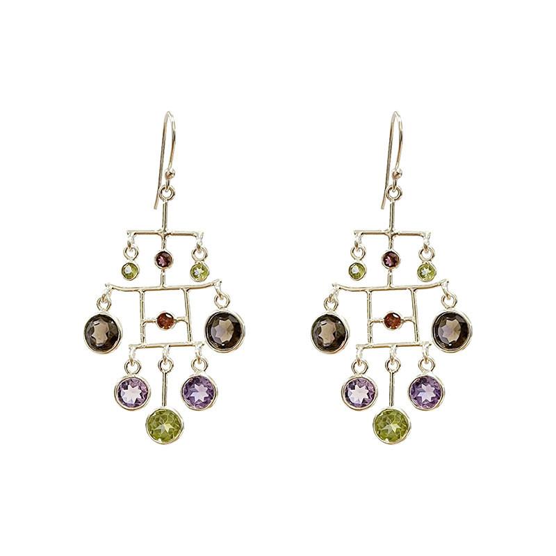 Boucles d'oreilles mobile multicolore - argent 925