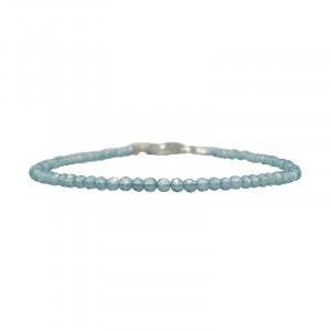 Bracelet apatite facettée - 2 mm - 17 cm - fermoir + chaînette
