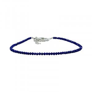 Bracelet lapis facetté - 2 mm - 17 cm - fermoir + chaînette