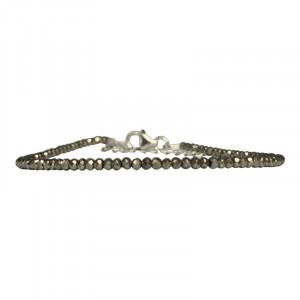 Bracelet pyrite facetté - 2 mm - 17 cm - fermoir + chaînette