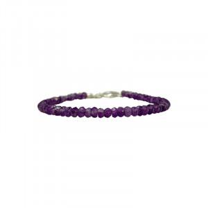 Bracelet Améthyste facetté - 3.5 mm - 17 cm - fermoir + chaînette