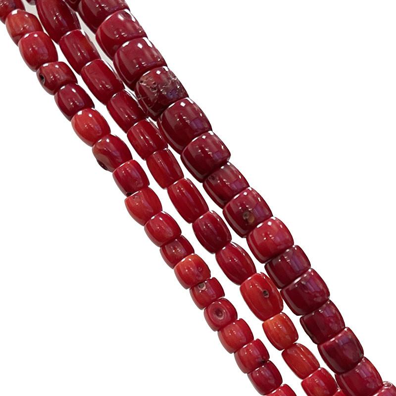 Fils bambou de mer teinté rouge - tubes - 3 pièces