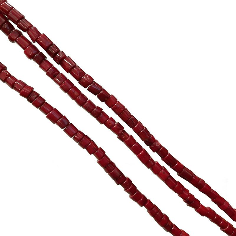 Fil Bambou de mer teinté rouge - Tubes - 3 pièces