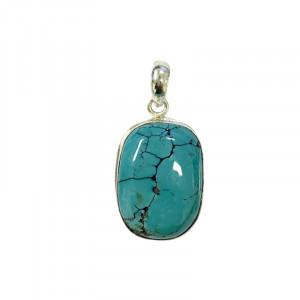 Pendentif turquoise népal carré/rectangle argent 0.925