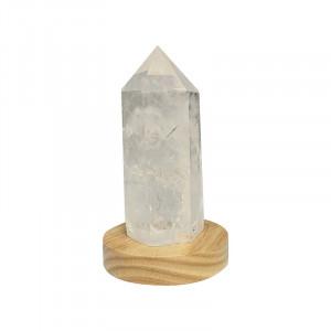 Pointe Cristal de roche - 7 à 20 cm sur socle bois LED