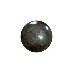 Palm stone rond en obsidienne argentée